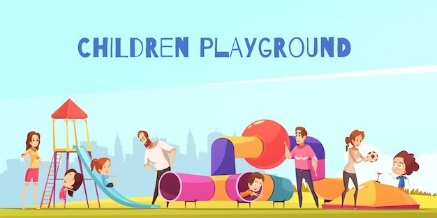Composição de crianças parque infantil