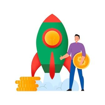 Composição de crowdfunding com ilustração plana de lançamento de foguete com um homem segurando uma moeda de um dólar