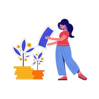 Composição de crowdfunding com mulher doodle e plantas de dinheiro crescendo a partir de ilustração de moedas