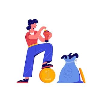 Composição de crowdfunding com personagem de doodle colocando dinheiro na ilustração da caixa de poupança da lâmpada