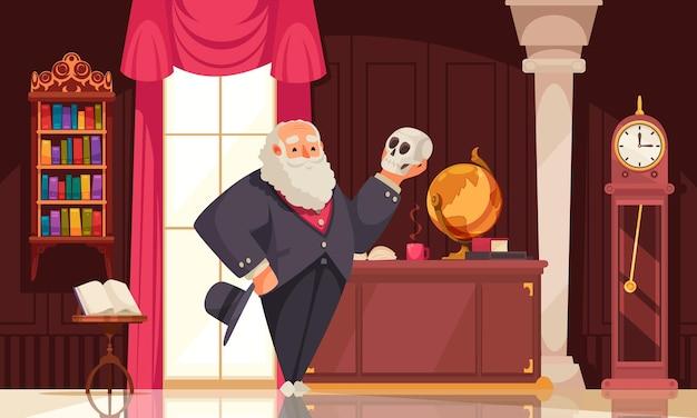 Composição de darwin do famoso cientista com cenário de interiores de quartos vintage e personagem de doodle olhando para o crânio humano