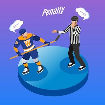 Composição de degradação isométrica de rodada de hóquei no gelo com o árbitro enviando jogador ofensivo na área penal