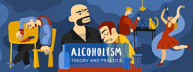 Composição de dependência de álcool com símbolos de teoria e prática planas