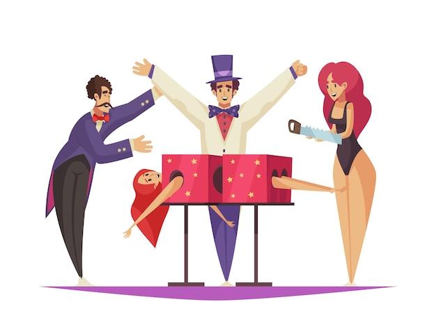 Composição de desenho animado com artista de circo fazendo truque com mulher serra