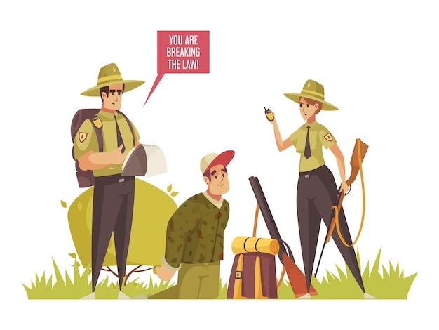 Composição de desenho animado com dois guardas florestais pegando um caçador
