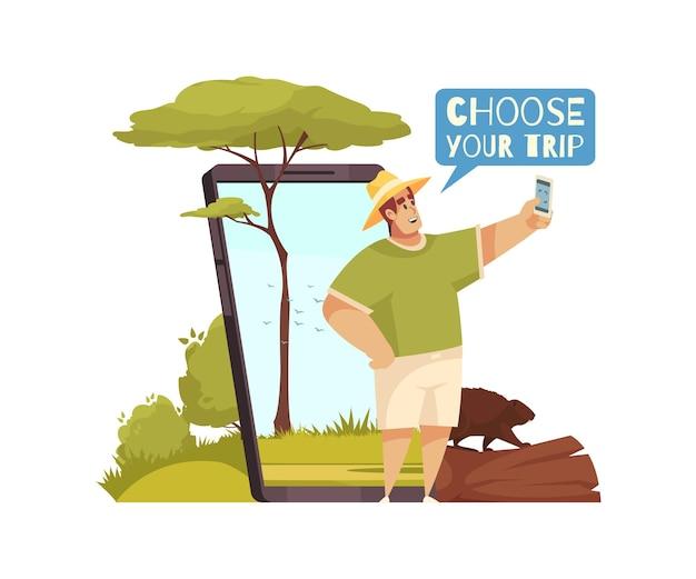 Composição de desenho animado com homem reservando viagens online em ilustração de aplicativo móvel