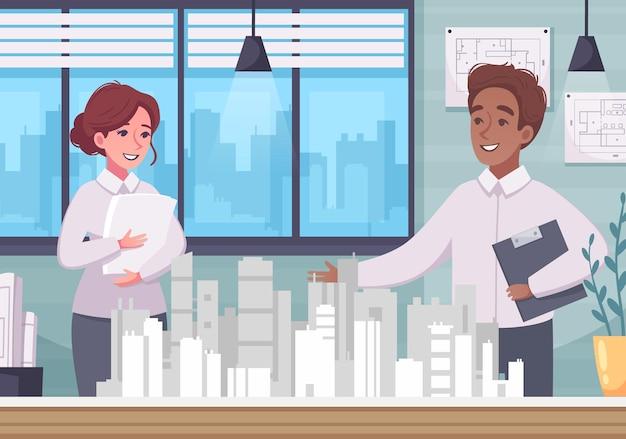 Composição de desenho animado de arquiteto com modelo em miniatura de cidade no cenário de escritório com personagens humanos de arquitetos