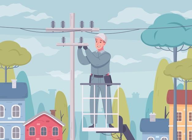 Composição de desenho animado de eletricista com cenário ao ar livre e homem de uniforme trabalhando com linhas de energia