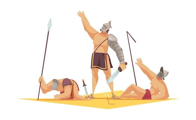 Composição de desenho animado de gladiador romano com o vencedor e dois perdedores deitados no chão