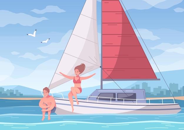 Composição de desenho animado de iate com paisagem do mar e casal de namorados