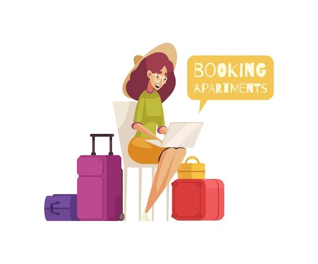 Composição de desenho animado de viagem com ilustração de bagagem e personagem feminina feliz reservando apartamentos