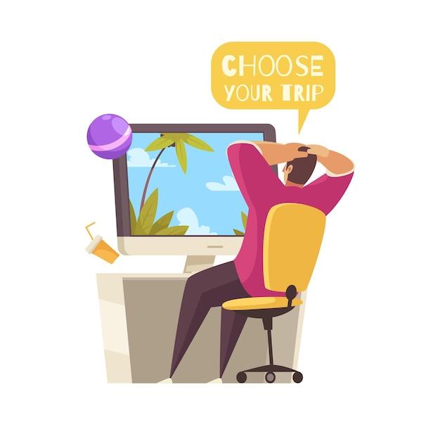 Composição de desenho animado de viagem com um homem relaxado escolhendo uma ilustração on-line de viagem
