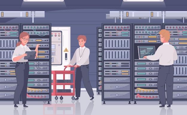 Composição de desenho animado do datacenter com vista interna da sala com gabinetes de servidor e personagens de doodle