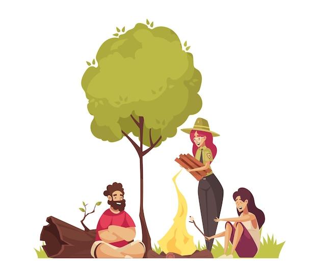 Composição de desenho animado do guarda florestal com pessoas fazendo fogo
