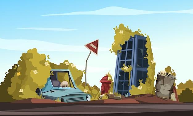 Composição de desenho animado pós-apocalipse com carro quebrado perto de placa dobrada, estrada fechada e cabine telefônica destruída