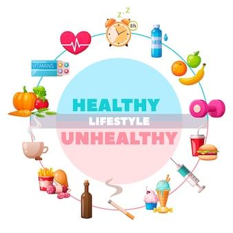 Composição de desenhos animados circulares de estilo de vida saudável e pouco saudável com vitaminas de ginástica, vegetais vs cigarro de junk food de drogas