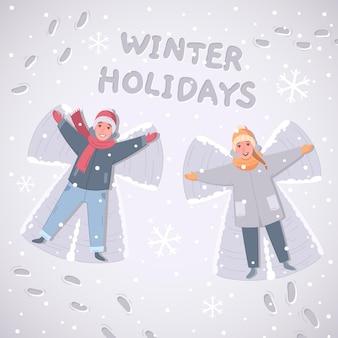 Composição de desenhos animados de atividades de lazer e esportes de inverno com ilustração de personagens humanos