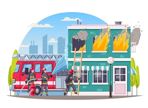 Composição de desenhos animados de bombeiros com ilustração de fogo ao ar livre
