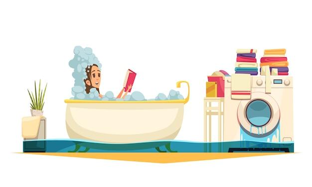 Composição de desenhos animados de emergência de inundação de banheiro de máquina de lavar quebrada com mulher de banho precisa de ajuda de encanador