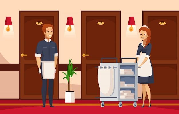 Composição de desenhos animados de funcionários do hotel