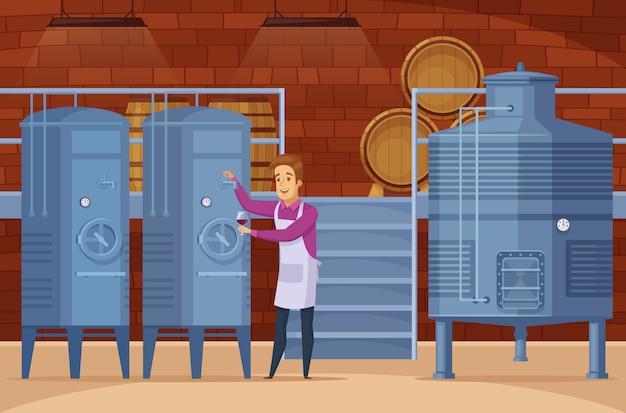 Composição de desenhos animados de instalações de produção vinícola