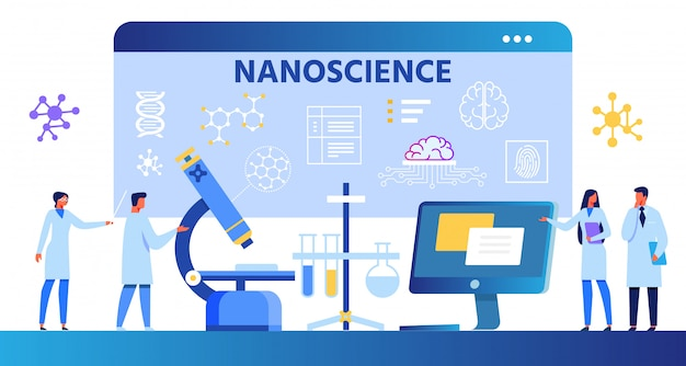 Composição de desenhos animados de nanociência com cientistas