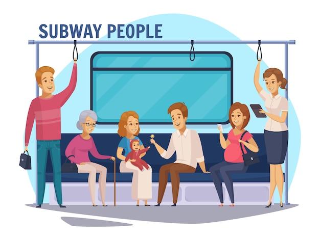 Composição de desenhos animados de pessoas subterrâneas de metrô