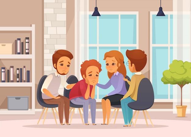 Composição de desenhos animados de terapia de grupo colorido e plano com sessão de psicoterapia em sala de aula