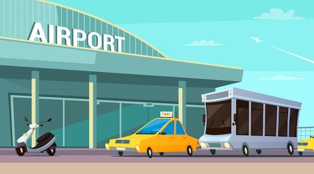 Composição de desenhos animados de transporte de cidade com terminal de aeroporto