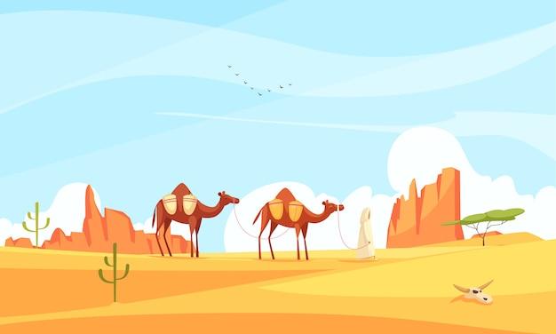 Composição de deserto de trem de camelo