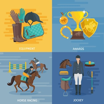 Composição de design de cor lisa, representando o conceito de ilustração em vetor jockey equestre equipamentos de corridas de cavalo