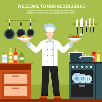 Composição de design de cozinha profissional