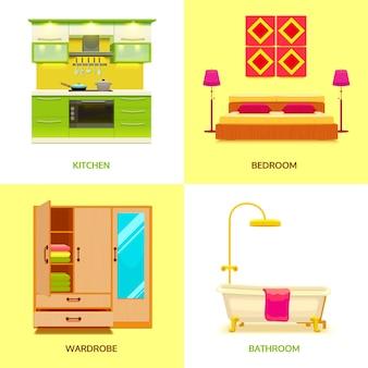 Composição de design de interiores moderno