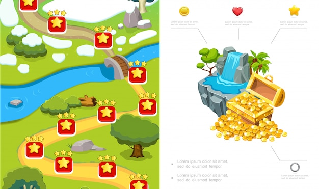 Composição de design de nível de jogo dos desenhos animados com rota árvores rio pedras cachoeira baú de moedas de ouro