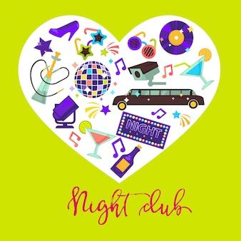 Composição de design promocional de clube de noite com atributos para diversão dentro do coração