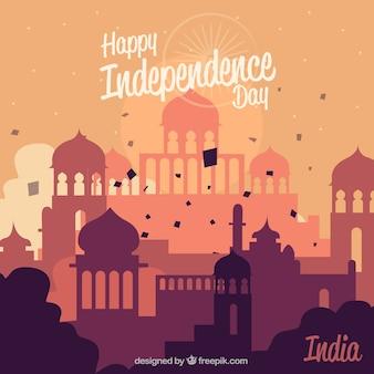 Composição de dia da independência de india com design plano