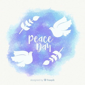 Composição de dia da paz em aquarela com pomba adorável