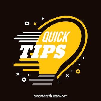 Composição de dicas rápidas com lâmpada