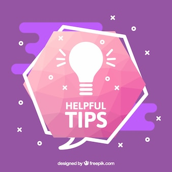 Composição de dicas úteis com lâmpada