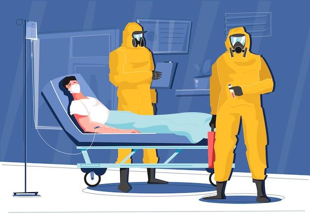 Composição de doenças infecciosas com paciente e médicos em ilustração de trajes químicos