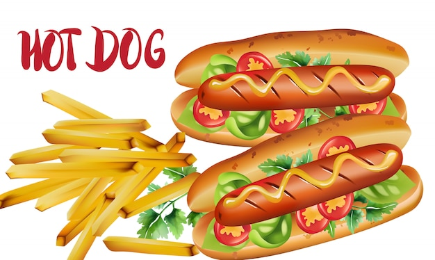 Composição de dois cachorros-quentes com tomate cereja, manjericão, salsa e mostarda, perto de uma porção de batatas fritas