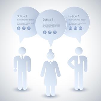 Composição de dois homens de negócios e uma mulher com descrições da negociação em andamento