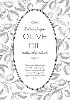 Composição de doodle de coroa oval de azeitonas verdes com belas flores e inscrição