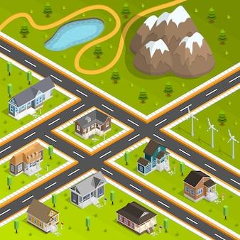 Composição de edifícios de cidade do país