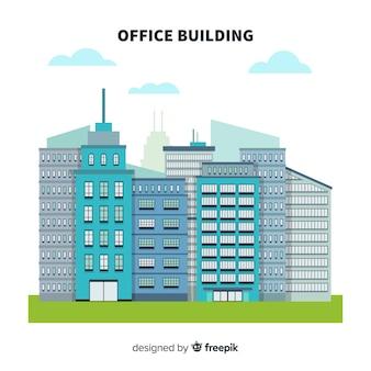 Composição de edifícios de escritórios modernos com design plano