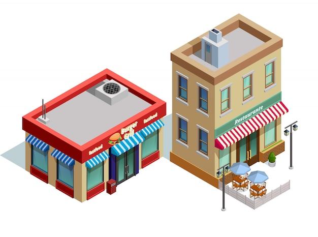 Composição de edifícios de restaurante