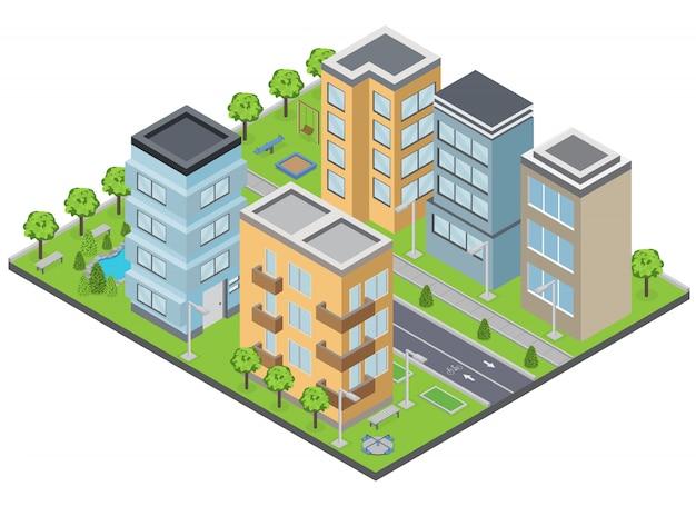 Composição de edifícios de subúrbio com apartamentos de grama e ruas isométrica