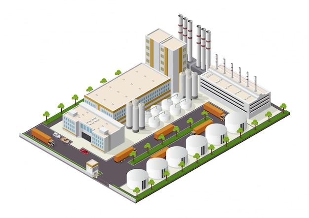 Composição de edifícios industriais isométrica com vista das instalações