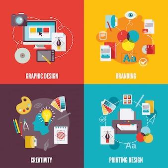 Composição de elemento de design gráfico plana