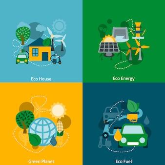 Composição de elemento plano de energia eco